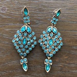 Oscar de la Renta Blue Teardrop Crystal Earrings